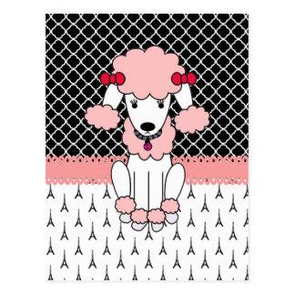 Retro custom girly diva pink Paris Poodle Postcard