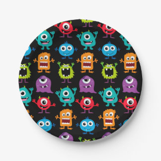 Retro Cute Monster Pattern 7 Inch Paper Plate
