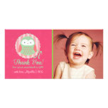 Retro Cute Owl Pink & Green Girly Thank You Picture Card