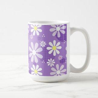 Retro Daisies Purple Gingham Circles Coffee Mug