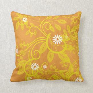 Retro Daisy and Yellow Filigree Over Orange Cushions