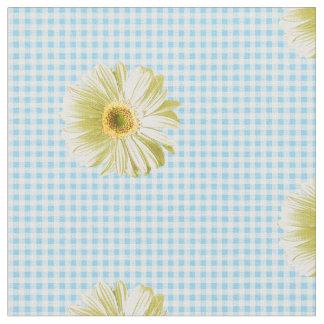 Retro Daisy Gingham Pattern Fabric