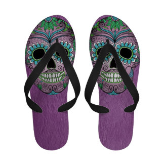 Retro Day of the Dead Sugar Skull on Leather Flip Flops