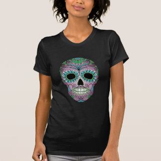 Retro Day of the Dead Sugar Skull on Leather T Shirts