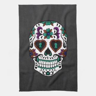 Retro Day of the Dead Sugar Skull Tea Towel