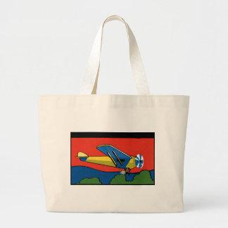 Retro Deco Plane Large Tote Bag