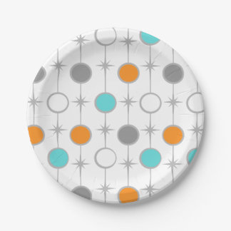Retro Dots and Starbursts Paper Plate