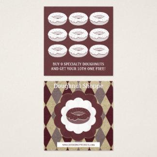 retro doughnut diamond loyalty punch square business card