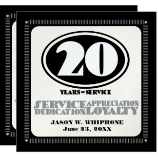 Retro employee 20 year service award card