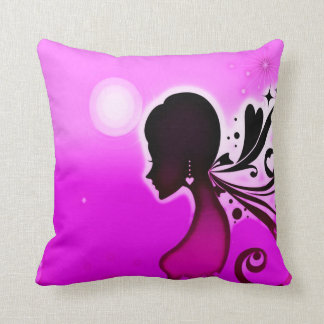 Retro Faerie Airbrush Art Plush Throw Pillow
