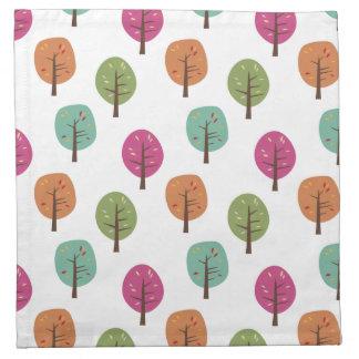 Retro Fall Trees Pattern Napkin