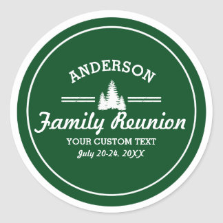 Retro Family Reunion or Trip | Rustic Pine Trees Classic Round Sticker