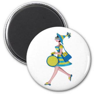 Retro Fashion Woman 6 Cm Round Magnet