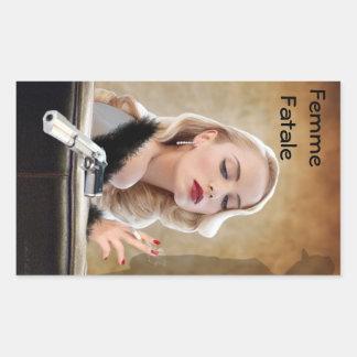 Retro Femme Fatale Diva - Smoking and Guns Rectangular Sticker