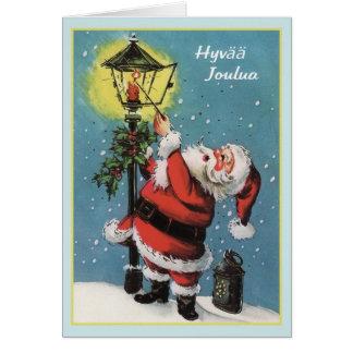 Retro Finnish Hyvää Joulua Christmas Card