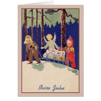 Retro Finnish Iloista Joulua Christmas Card