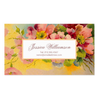 Retro Floral 1950s Primroses Design Pack Of Standard Business Cards