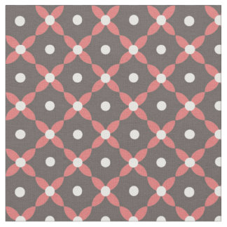 Retro Floral Fabric - Coral / Brown