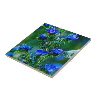 retro, floral, flowers, decorative, ornamental, ar small square tile