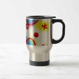 retro, floral, flowers, decorative, ornamental, ar travel mug