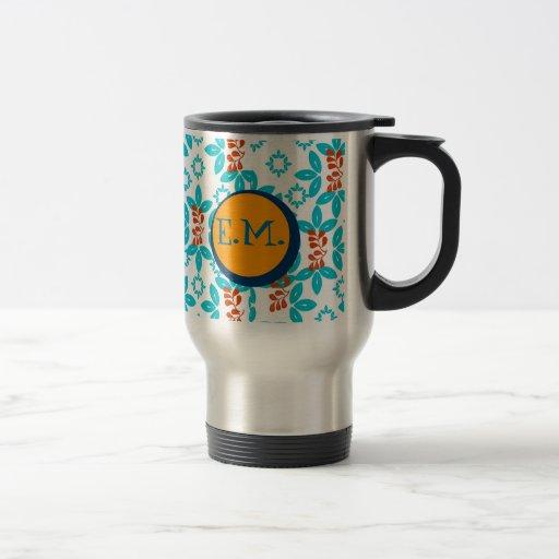 Retro Floral Monogrammed Coffee Mug