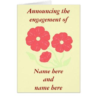 Retro Floral Pink -cream, Engagement Announcement