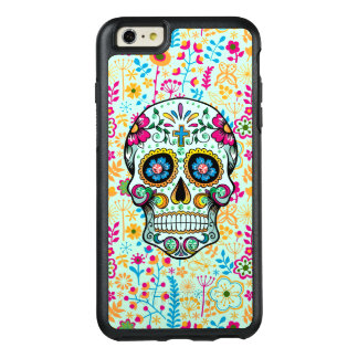 Retro Floral Sugar Skull With Floral Background OtterBox iPhone 6/6s Plus Case