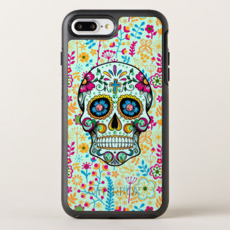 Retro Floral Sugar Skull With Floral Background OtterBox Symmetry iPhone 7 Plus Case