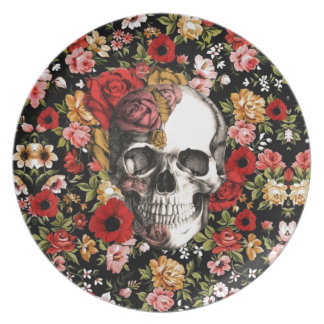 Retro florals with skull pattern plates