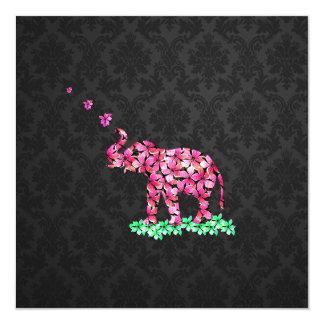 Retro Flower Elephant Pink Sakura Black Damask 13 Cm X 13 Cm Square Invitation Card