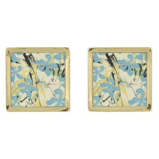 Retro Flowers (blue and yellow) Gold Finish Cuff Links