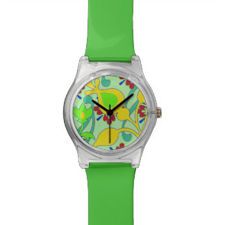 Retro Flowers Bright Colorful Green Watch