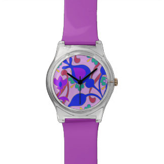 Retro Flowers Bright Colorful Purple Watch