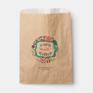 Retro Flowers Personalized Thank You Favour Bags