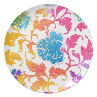Retro Flowers Dinner Plate