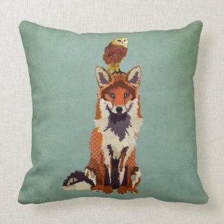 Retro Fox & Owl Pillow