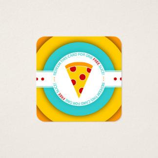 retro FREE PIZZA SLICE coupon Square Business Card