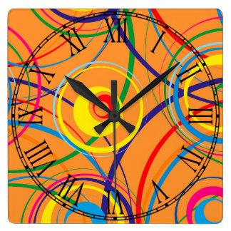 Retro Funky Circle Design Wall Clocks