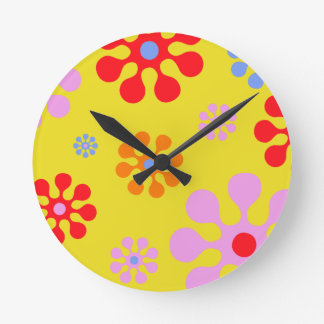Retro Funky Flower Pattern Yellow Wall Clock