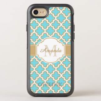 Retro Funky Gold Cyan Quatrefoil Moroccan Monogram OtterBox Symmetry iPhone 8/7 Case