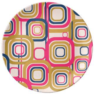 Retro Funky Square Design Porcelain Plates