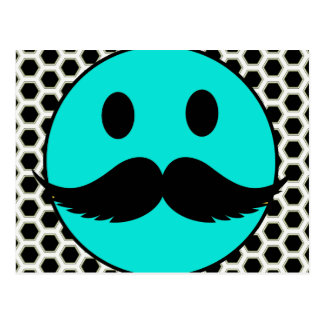 Retro Funny Smiley Face with Mustache Stache Postcard