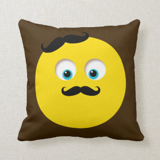 Retro Gentleman Emoji with Mustache Cushion