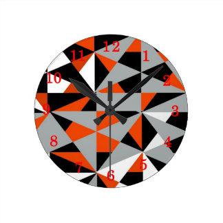 Retro Geometric Funky Orange Grey Black Pattern Round Clock