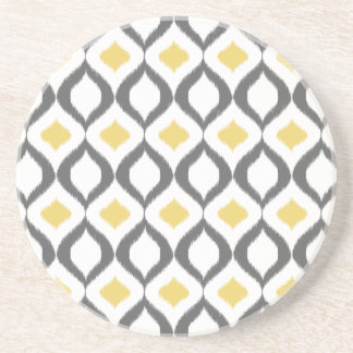 Retro Geometric Ikat Yellow Gray Pattern Coaster