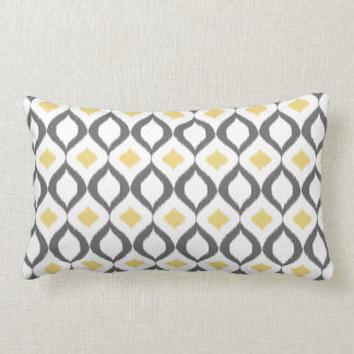 Retro Geometric Ikat Yellow Gray Pattern Lumbar Cushion