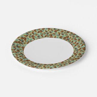 Retro geometric pattern 7 inch paper plate