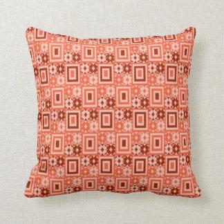 Retro Geometric Pattern :: Orange Brown Throw Pillow