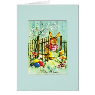 Retro German Easter Card.  Frohe Ostern! Greeting Card
