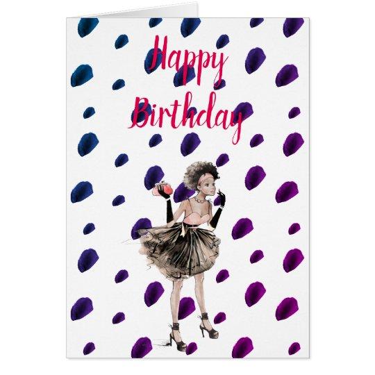 Retro Girl Woman Birthday Card